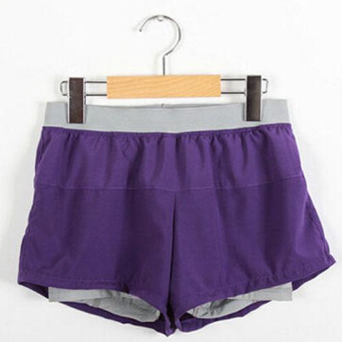 COGIT 極‧限‧運動 速乾透氣舒適防走光平口雙層運動短褲-深紫+灰