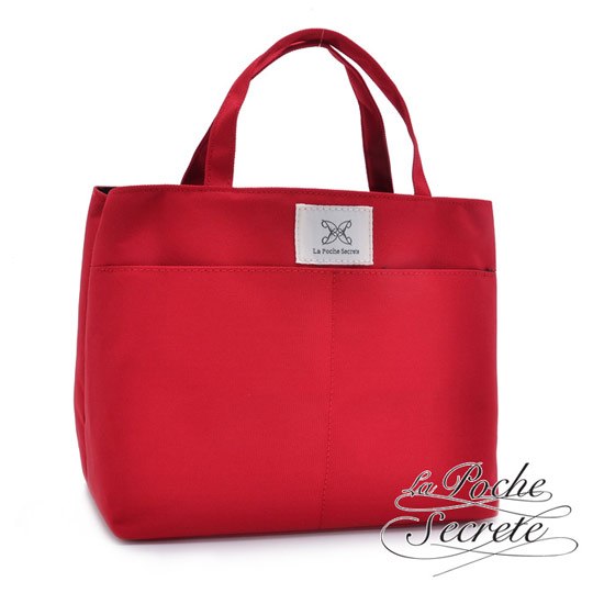 【La Poche Secrete真皮】漾彩帆布手提袋中袋(自信紅)