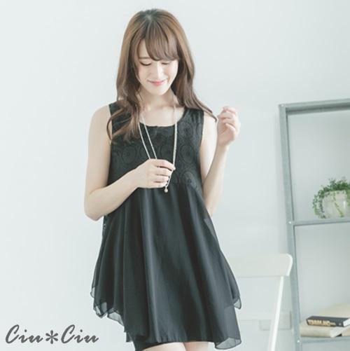 Ciu*Ciu 甜美圈圈蕾絲拼接雪紡兩件式洋裝+背心-黑色