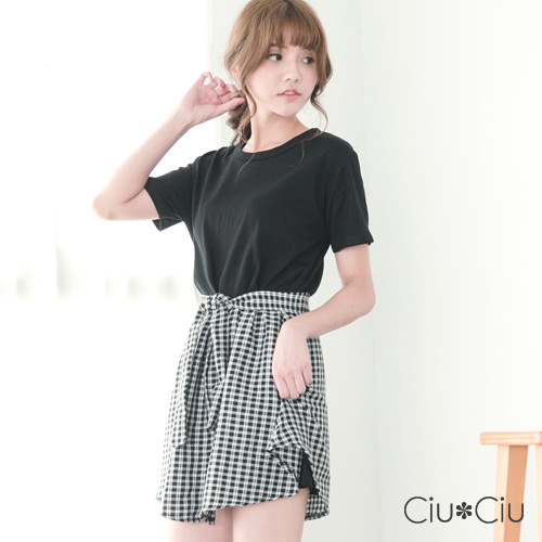 Ciu*Ciu 經典格紋假兩件設計洋裝-黑色