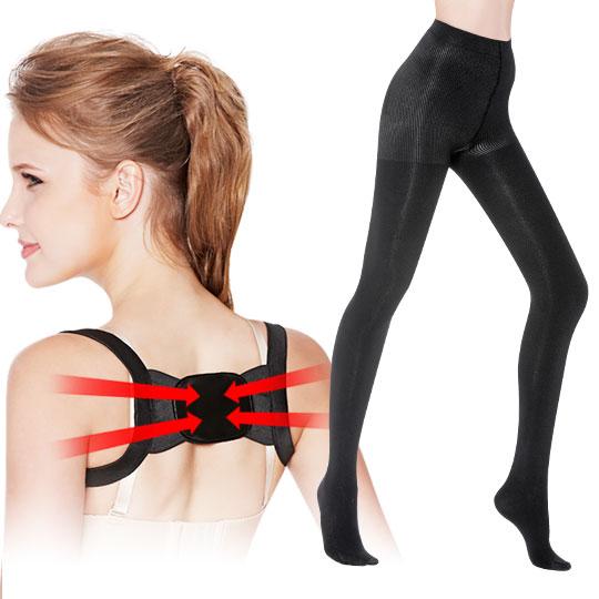 <現賺$100>200丹刷毛纖腿襪+美姿挺立補正帶(黑)加大版