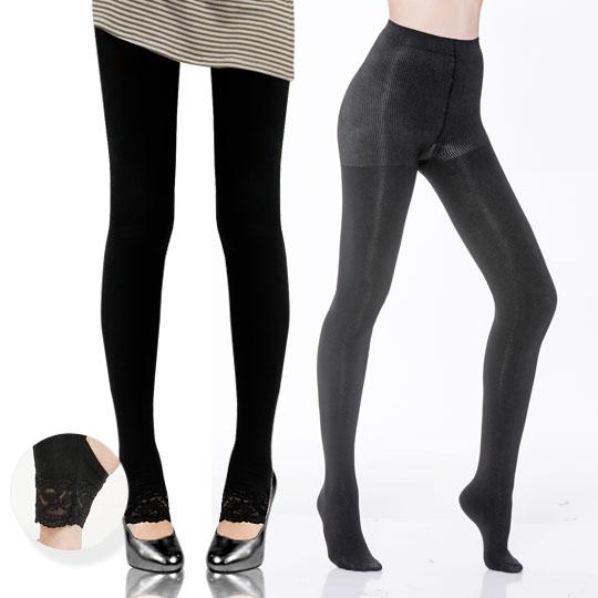 <+199韓版名媛蕾絲踩腳褲>200丹刷毛保暖纖腿襪