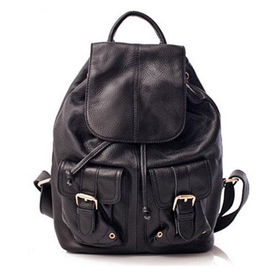 【i Brand 真皮包包】俐落時尚-牛皮翻蓋口袋後背包-時尚黑