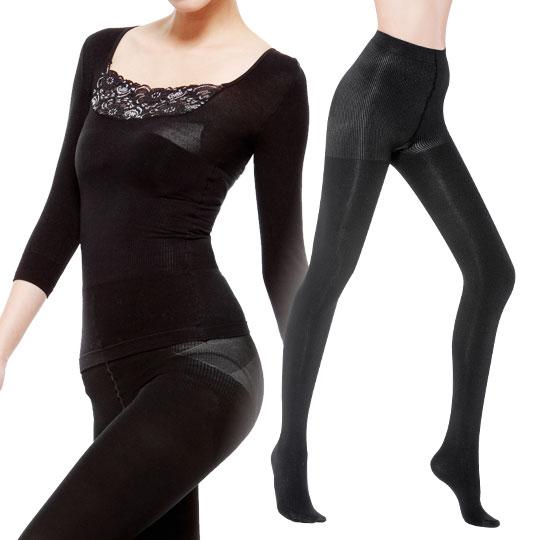 <現賺$59>200丹刷毛纖腿襪+保暖紗平腹衣280丹混搭蕾絲