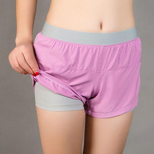 COGIT 極‧限‧運動 速乾透氣舒適防走光平口雙層運動短褲-粉紫+灰