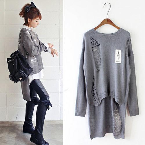 COGIT 極‧美‧時尚 韓版個性破洞前短後長針織上衣-灰色