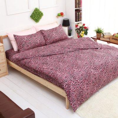 【夢之語寢具】MIT台灣製-輕甜馬卡龍♥蜜桃絲床包三件套組-蜜糖豹紋