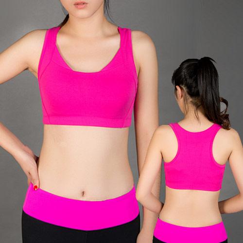 COGIT 極‧限‧運動 雙層配網透氣側收副乳型運動Bra背心-玫紅色