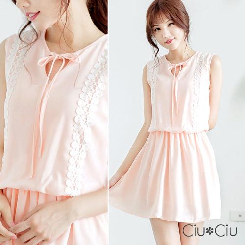 Ciu*Ciu 唯美蕾絲拼接雪紡鬆緊腰圍洋裝-粉紅