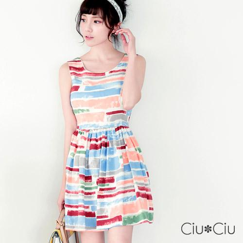 Ciu*Ciu 夏日活力後背蝴蝶縷空洋裝-粉色