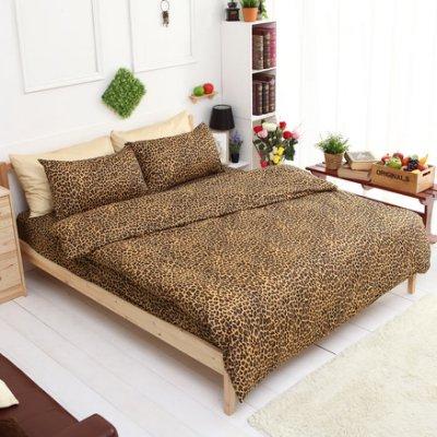 【夢之語寢具】MIT台灣製-輕甜馬卡龍♥蜜桃絲床包三件套組-摩登豹紋