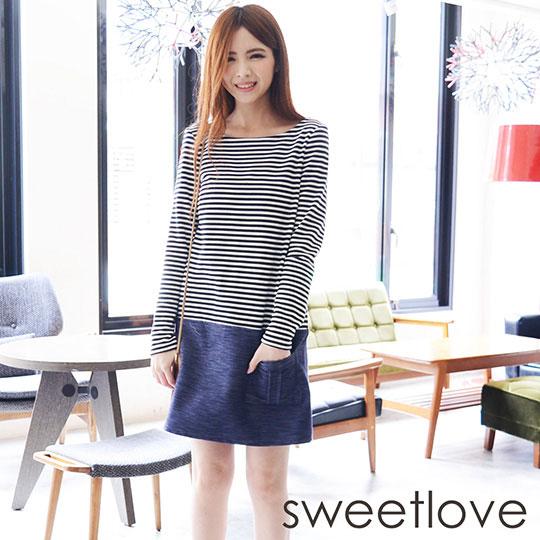 sweetlove - 丹寧洋裝條紋上衣單邊造型口袋洋裝 (現貨+預購)