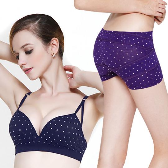 爆乳無鋼圈美胸衣點點-深藍+夜寢點點褲-紫