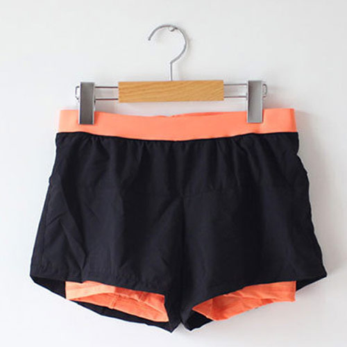 COGIT 極‧限‧運動 速乾透氣舒適防走光平口雙層運動短褲-黑+熒光橘