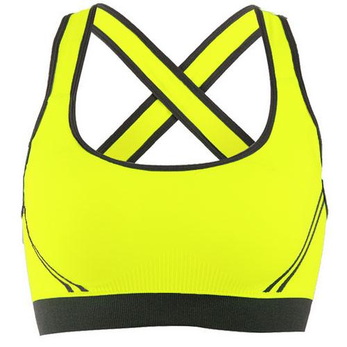 COGIT 極‧限‧運動 配色無縫織透氣交叉美背輕型運動Bra背心-黃色