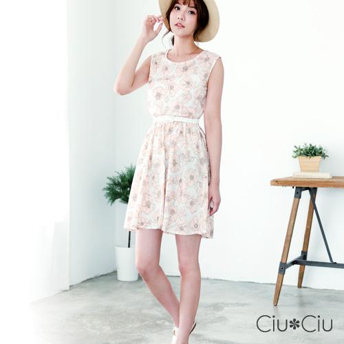 Ciu*Ciu 雅致印花棉麻側抽繩收腰洋裝-粉色