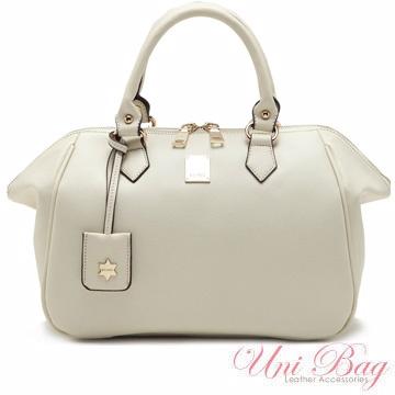 【Uni Bag】韓國空運~高貴時尚皮感波士頓包(2色-白色)