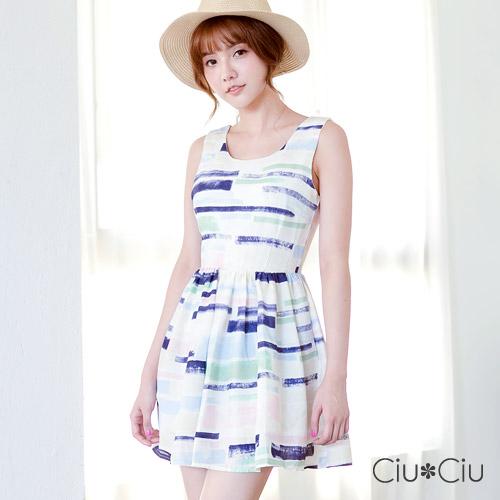 Ciu*Ciu 夏日活力後背蝴蝶縷空洋裝-紫色