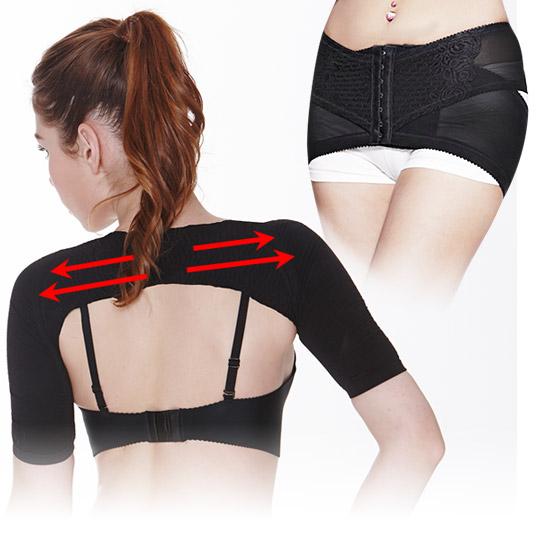(細臂翹臀組)肩背美型纖臂套-黑+280丹魔俏提臀帶(黑色)