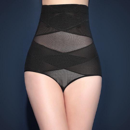 '精雕細塑'420丹二排交叉三段加壓收腹美型提臀褲-黑
