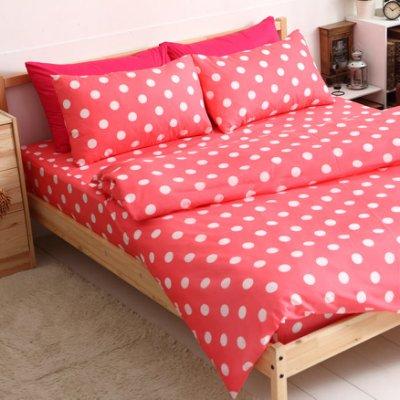 【夢之語寢具】MIT台灣製-輕甜馬卡龍♥蜜桃絲床包三件套組-蘋果粉