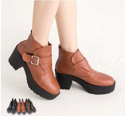 【TOMO】短靴‧釦飾造型粗跟皮革短靴‧棕色【K127D2792】